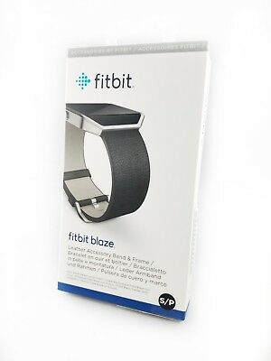 Fitbit Blaze Replacement Leather Accessory Band & Frame Small Black Brand NEW