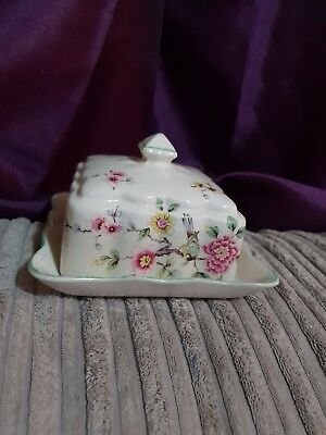 unusual vintage old foley square butter cheese dish beautiful chinese rose flora