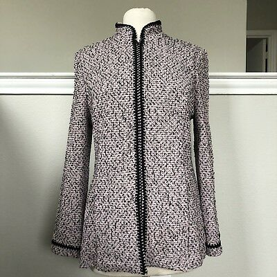 St John Marie Gray Jacket Speckled Pink & Black  Knit Suit Blazer Sz 8