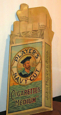 Player's Navy Cut Tobacco & Cigarettes Cardboard Sign Stand Up Store Display Old