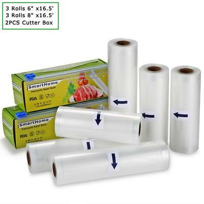 "KitchenBoss Vacuum Sealer Rolls with Cutter Box 6 Pack 6"" x16.5' and 8"" x16.5'"