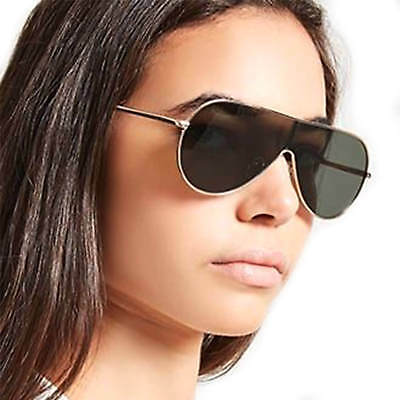 Fancy Aviator Shield Retro Sunglasses Metal Frame Men Women Fashion Shades