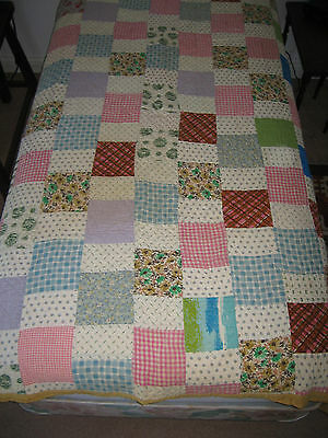 """Vintage Antique All Hand Made Squares Twin Quilt - 77"""" X 60"""""""