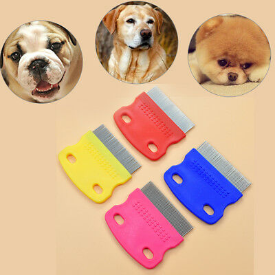 stainless steel pet dog cat toothed flea removal cleaning brush grooming comb  E