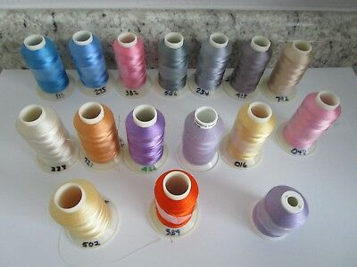 Embroidery Thread - 16 cones various colors, 1100 yards