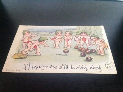 "Pre 1920's May Gibbs Original Postcard "" I Hope You're Still Bowling "" Copyright"
