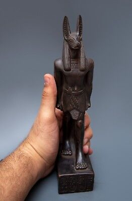 EGYPTIAN ANUBIS STATUE Antique GODS Jackal Dog EGYPT Goddesses Carved Stone BC