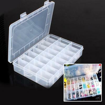 24 Compartment Storage Box Adjustable Case Beads Rings Jewelry Display Organizer