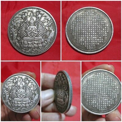 Silver Coin Guanyin & 1000 Arms Thai Chinese Rare Amulet K142-9