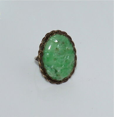 Antique Chinese Natural Carved Jadeite Ring Sterling Silver Size 7-3/4