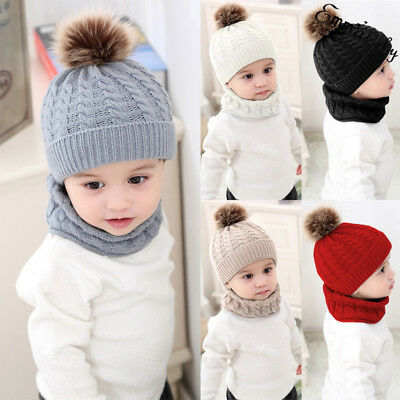 USA Baby Toddler Kids Boy Girl Winter Warm Knitted Crochet Beanie Hat Cap Scarf