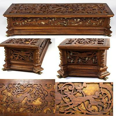 """Antique Black Forest or French Carved 14.5"""" Jewelry Box Casket, Animals, Figural"""