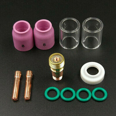 12pcs TIG Welding Torch Saver #10 Pyrex Cup Stubby Gas Lens Kit For WP-17/18/26