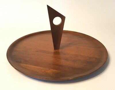 "Vintage 12"" Mid Century Danish Modern Walnut Kustom Kraft Serving Platter Tray"
