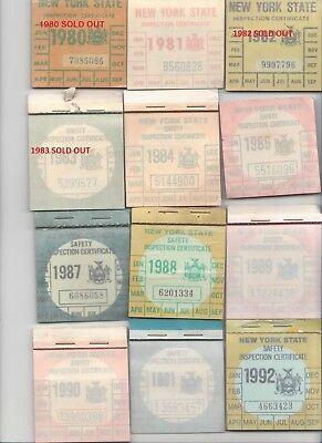 Original Unpunched New York State Inspection Sticker 22 years to choose NYS