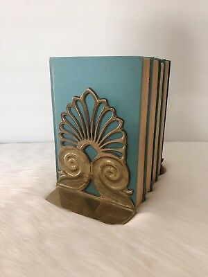 Vintage Pair of Brass Art Deco Scoll Hollywood Regency Bookends