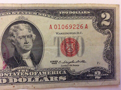 """1963 $2 Red Seal Note """"A 01069226 A"""" 2 Dollar Bill Old Money - Rare"""