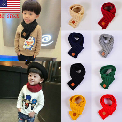 US Autumn Winter Kid Boys Girls Neck Warmer Solid Knitted Scarf Multicolor