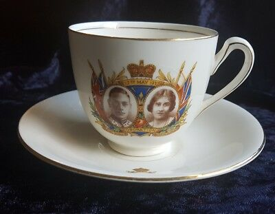 1937 King George Coronation J Kent cup and saucer souvenir Royalty