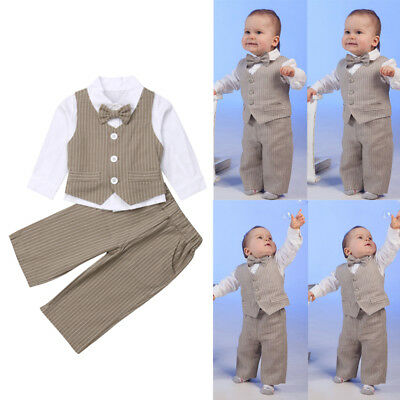 ba4da57f8 1 set Baby clothes kids boys wedding party suit top+pants tuxedo outfits set