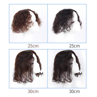 Handmade Clip In 100% Real Human Curly Hair Top Topper Toupee Hairpiece Toupee