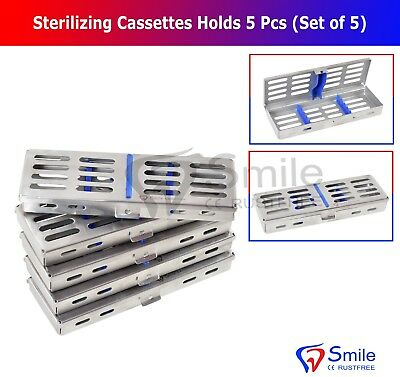 5X Sterilization Cassette Rack Tray Hold 5 Dental Surgical Instruments Autoclave