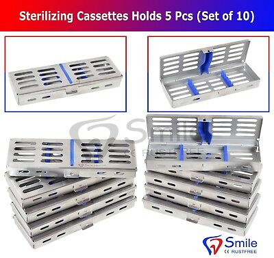 10X Sterilization Cassette Rack Tray Holds 5 Dental Surgical Instruments FDA CE