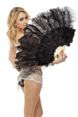 """black 21"""" x 38""""  Marabou Ostrich Feather fan with Travel Bag"""