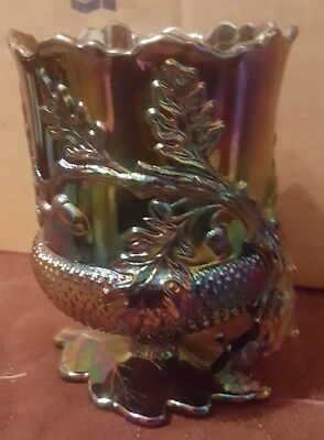 Mosser Purple Carnival Acorn Spooner Cup Vase Made in USA