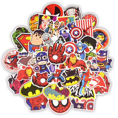 50pcs/lot MARVEL Super Hero Stickers For Laptop Motorcycle Skateboard Decal Bomb