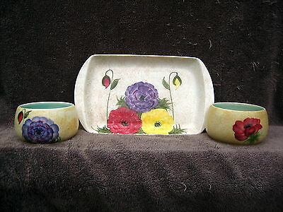 Art Deco or Vintage handpainted with flowers Radford pottery tray with 2 bowls