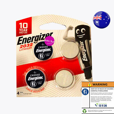 4 x Energizer CR2032 Battery Batteries 3.0V Single Child-Resistant Packaging