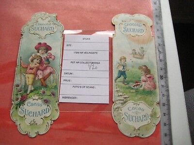 2 bookmarks ltho c1900 chocolate SUCHARD Wieser V 20 - balloon, fronts excellent