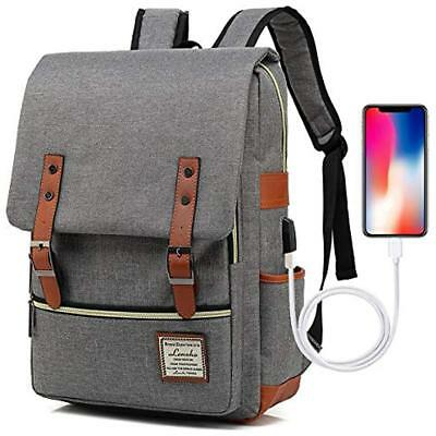 Laptop Backpack For Women Men, Vintage Slim College School With USB Charging And