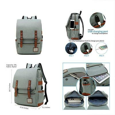 Laptop Backpack Women Men, Vintage Slim College School USB Charging Port,Casual