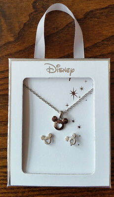 Primark Disney Mickey Mouse Heart Necklace and Earrings Set in Gift Box - NEW