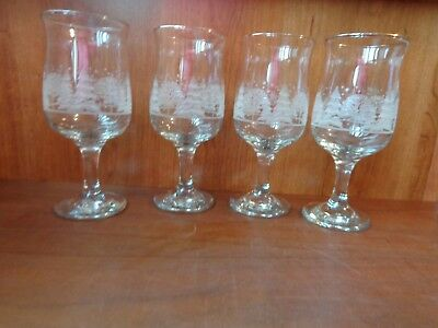 4 1980s Arby's stemmed glass water Goblets frosted winter gold rim Christmas