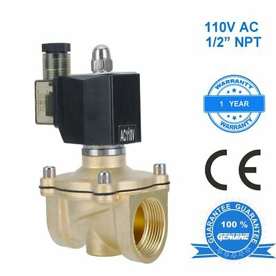 1/2 inch 110V-120V AC Brass Electric Solenoid Valve NPT Gas Water Air N/C VI