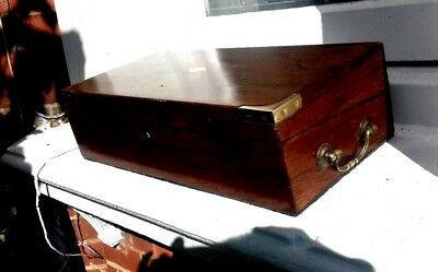 Victorian rosewood locking  writing slope with brass handles and 2 inkwells