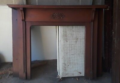 Beautiful Wood Fireplace Mantle With Fluted Columns & Center Design