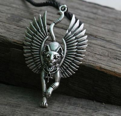Cat with wing Bastet Ancient Egyptian Sphinx Pendant Necklace Amulet Jewelry