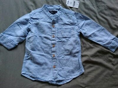 Next BNWT Boys Age 18-24 Months Blue Linen Shirt With Grandad Collar