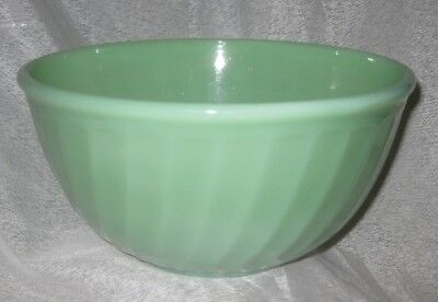 Large Vintage Anchor Hocking Fire King Jadeite Glass Swirl Patterned Mixing Bowl