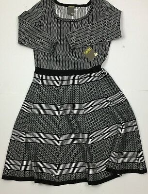 1e696e4b92 Taylor Womens Black Whit 3 4 Sleeves Fit And Flare Printed Sweater Dress Sz