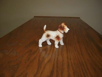 "Vintage  Ceramic Wire Haired Fox Terrier Puppy Dog Figurine 3 1/2""tall"