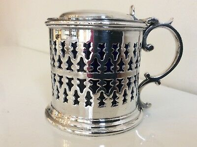Vintage PLATED SILVER PIERCED MUSTARD POT with Cobalt Glass Liner