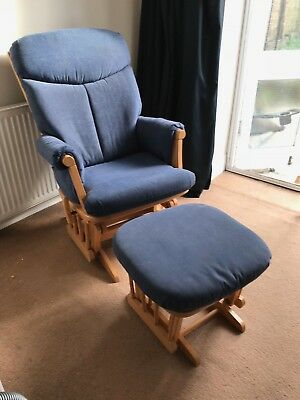 Blue John Lewis Kub Chatsworth Glider Nursing Chair and Foot Stool,