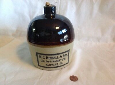 Antique Whiskey Jug M. C . Russell & Son Maysville Ky.