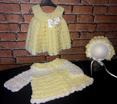 Handmade crochet Special Occasion 3 piece  Baby Girl set 12 months