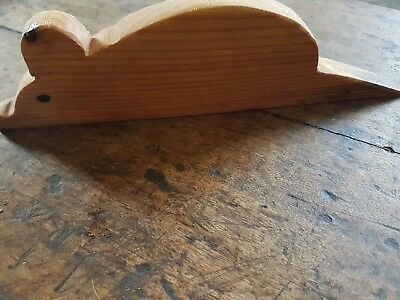Victorian pine over 100 years old -- door stop / wedge with hand carved mouse